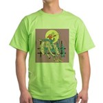 Sexy Cowgirl Riding Bronco Horse Green T-Shirt