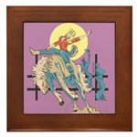 Sexy Cowgirl Riding Bronco Horse Framed Tile