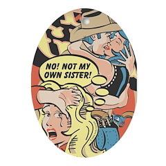 Western Cowgirl Cowboy Pop Art Oval Ornament