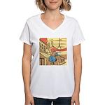 Sexy Western Cowgirl Pop Art Women's V-Neck T-Shir