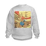 Sexy Western Cowgirl Pop Art Kids Sweatshirt