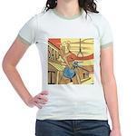 Sexy Western Cowgirl Pop Art Jr. Ringer T-Shirt