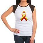 Red and Yellow Awareness Ribbon Women's Cap Sleeve