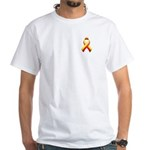 Red and Yellow Awareness Ribbon White T-Shirt