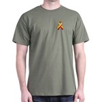 Red and Yellow Awareness Ribbon Dark T-Shirt