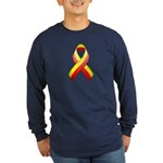 Red and Yellow Awareness Ribbon Long Sleeve Dark T