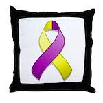 Purple and Yellow Awareness Ribbon Throw Pillow