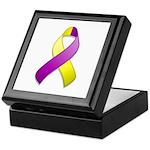 Purple and Yellow Awareness Ribbon Keepsake Box