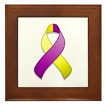 Purple and Yellow Awareness Ribbon Framed Tile
