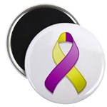 "Purple and Yellow Awareness Ribbon 2.25"" Magnet (1"