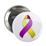 "Purple and Yellow Awareness Ribbon 2.25"" Button (1"
