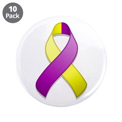 Purple and Yellow Awareness Ribbon 3.5