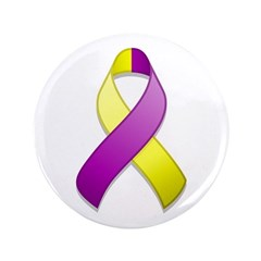 Purple and Yellow Awareness Ribbon 3.5