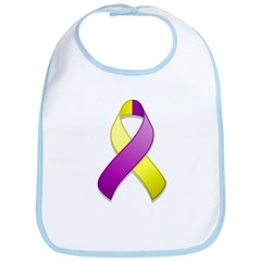 Purple and Yellow Awareness Ribbon Bib