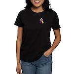 Purple and Yellow Awareness Ribbon Women's Dark T-