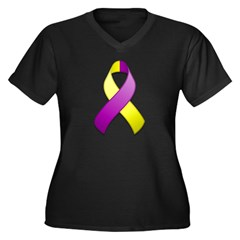 Purple and Yellow Awareness Ribbon Women's Plus Si