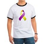 Purple and Yellow Awareness Ribbon Ringer T