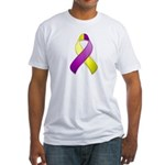 Purple and Yellow Awareness Ribbon Fitted T-Shirt