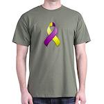 Purple and Yellow Awareness Ribbon Dark T-Shirt
