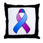 Blue and Purple Awareness Ribbon Throw Pillow