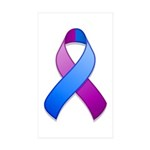 Blue and Purple Awareness Ribbon Sticker (Rectangl