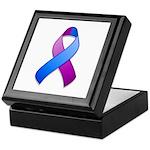 Blue and Purple Awareness Ribbon Keepsake Box