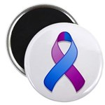 """Blue and Purple Awareness Ribbon 2.25"""" Magnet (10"""