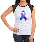 Blue and Purple Awareness Ribbon Women's Cap Sleev