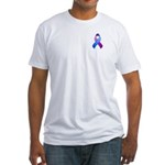 Blue and Purple Awareness Ribbon Fitted T-Shirt