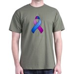 Blue and Purple Awareness Ribbon Dark T-Shirt