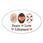 Peace Love Lifeguard Lifeguarding Sticker (Oval 50