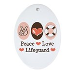Peace Love Lifeguard Lifeguarding Oval Ornament
