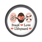 Peace Love Lifeguard Lifeguarding Wall Clock