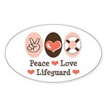 Peace Love Lifeguard Lifeguarding Oval Sticker