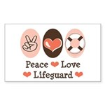 Peace Love Lifeguard Lifeguarding Sticker (Rectang
