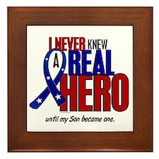 Never Knew A Hero 2 Military (Son) Framed Tile