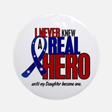 Never Knew A Hero 2 Military (Daughter) Ornament (