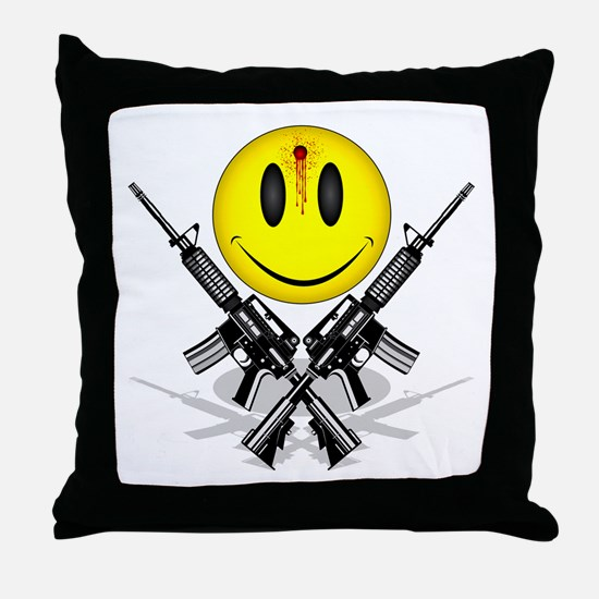 Bloody Happy Face Throw Pillow