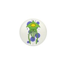 Alien Squid Green Mini Button (10 pack)