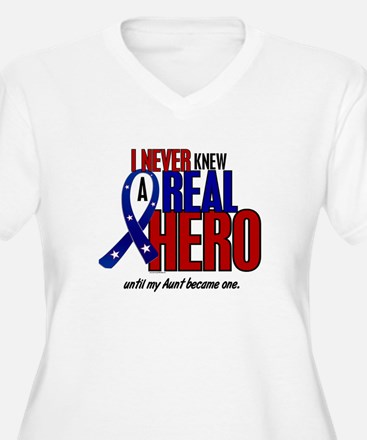 Never Knew A Hero 2 Military (Aunt) T-Shirt