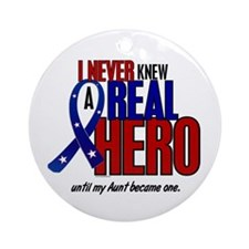 Never Knew A Hero 2 Military (Aunt) Ornament (Roun