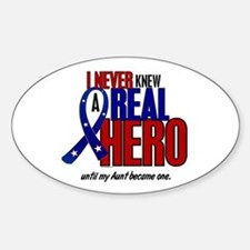 Never Knew A Hero 2 Military (Aunt) Oval Decal
