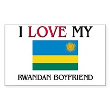 I Love My Rwandan Boyfriend Rectangle Decal