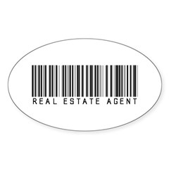 Real Estate Agent Barcode Oval Sticker (10 pk)