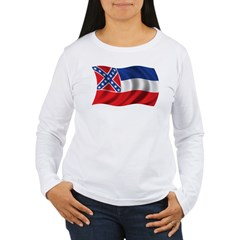 Wavy Mississippi Flag Women's Long Sleeve T-Shirt