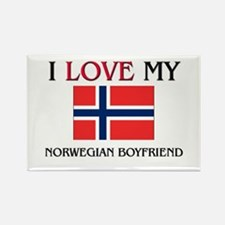 I Love My Norwegian Boyfriend Rectangle Magnet