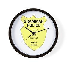 Grammar Police English Teacher Wall Clock
