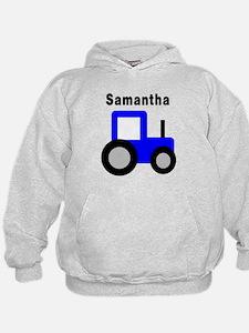 Samantha - Blue Tractor Hoodie