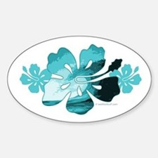 Hibiscus Surf - Oval Decal