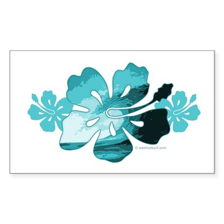 Hibiscus Surf - Rectangle Sticker
